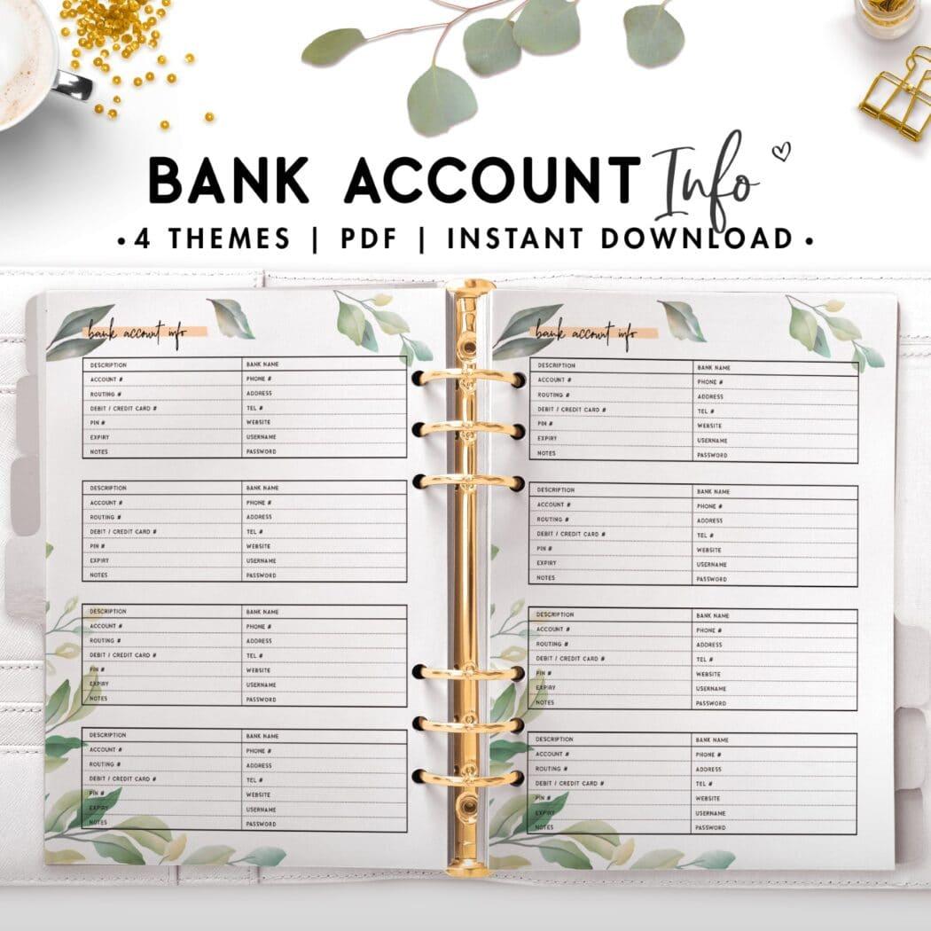 Bank account info - botanical theme
