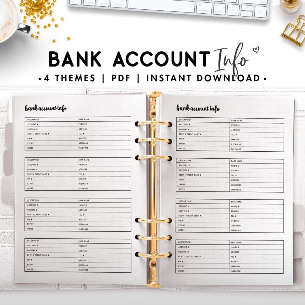 Bank account info -cursive theme