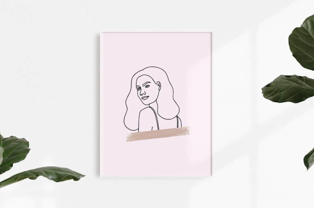 Line Art Girl 1 Free Print