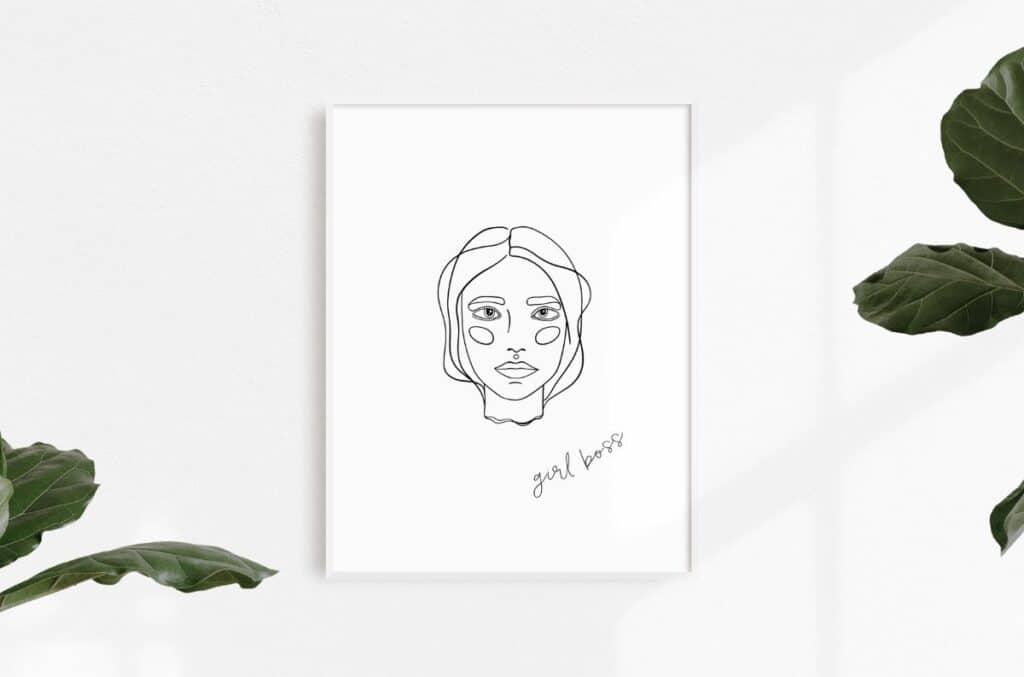 Line Art Girl 12 Free Print
