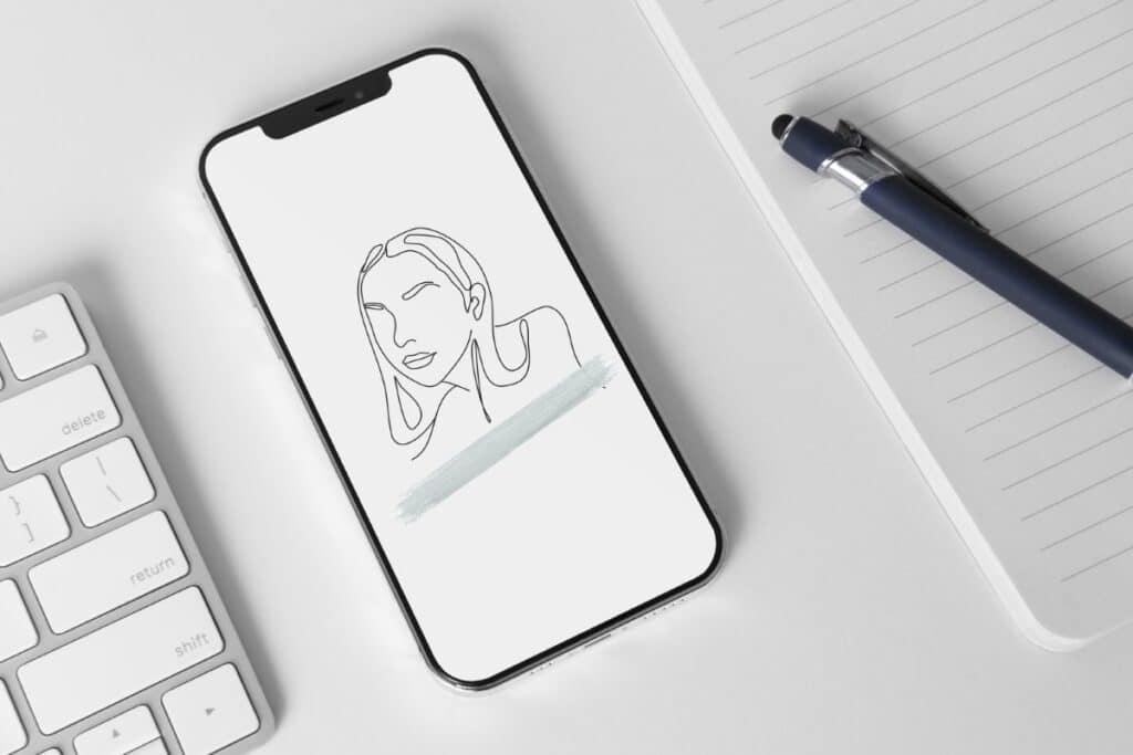 Line Art Girl 3 Iphone 12 Wallpaper