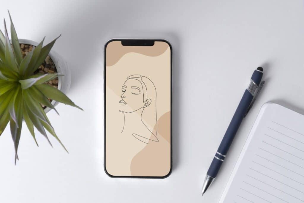 Line Art Girl 4 Iphone 12 Wallpaper