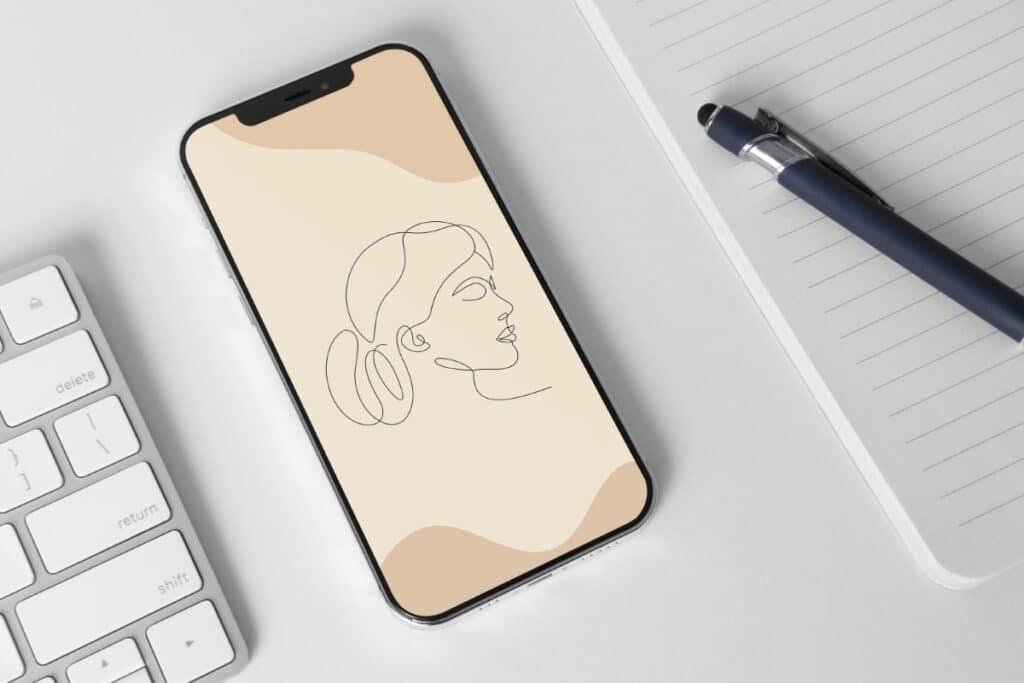 Line Art Girl 5 Iphone 11 Wallpaper