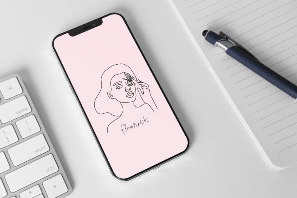 Line Art Girl 7 Iphone 11 Wallpaper