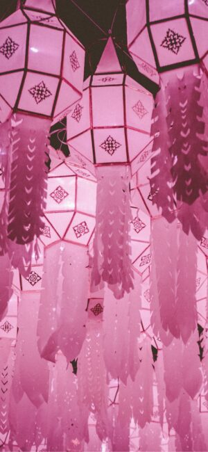 Pink Chinese Lanterns iPhone wallpaper