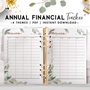annual financial tracker - botanical