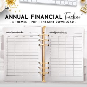 annual financial tracker - cursive