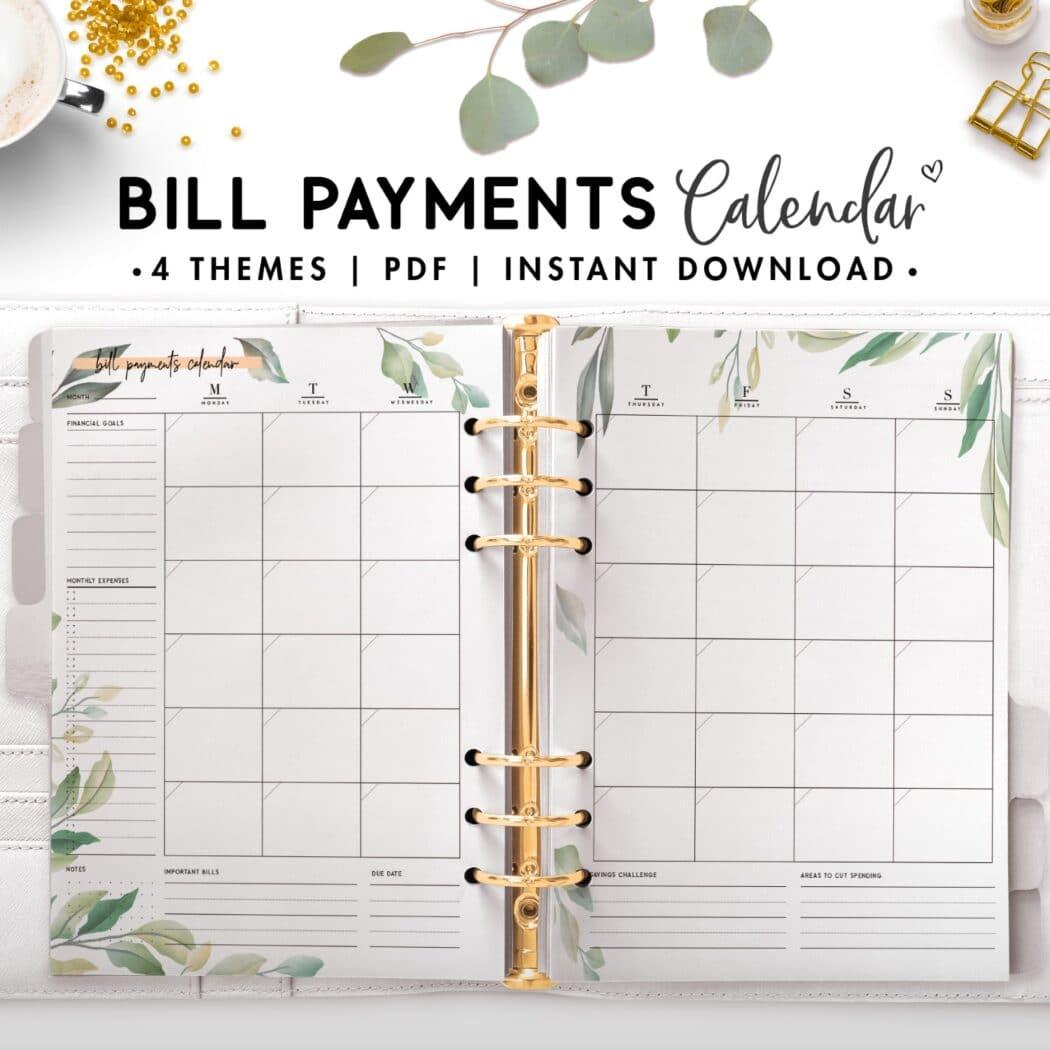 bill payment calendar - botanical
