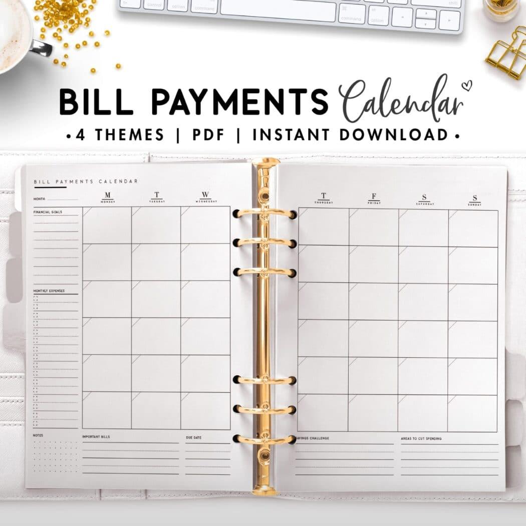 bill payment calendar - classic