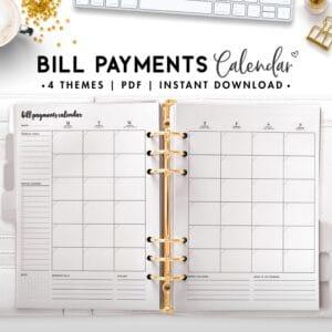 bill payment calendar - cursive