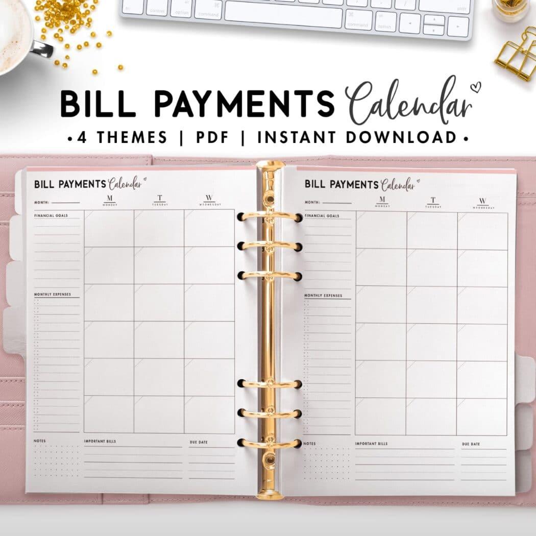 bill payment calendar - soft