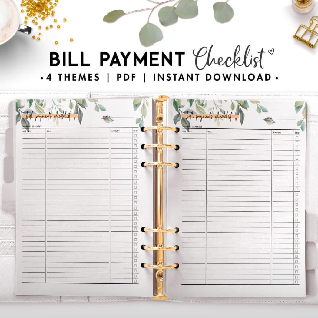 bill payment checklist - botanical