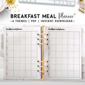 breakfast meal planner - cursive