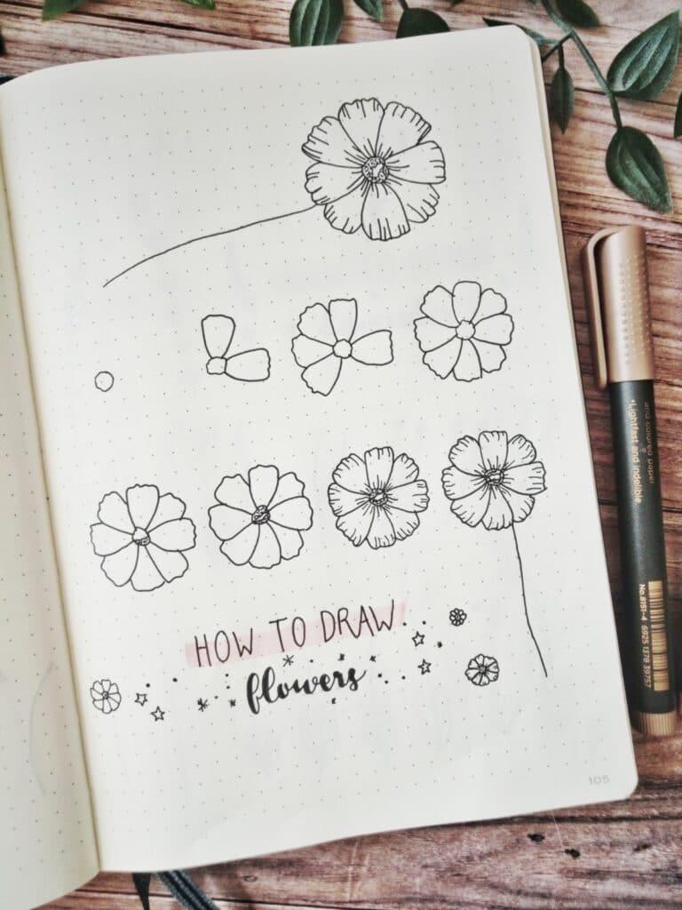 bullet journal draw flowers tutorial