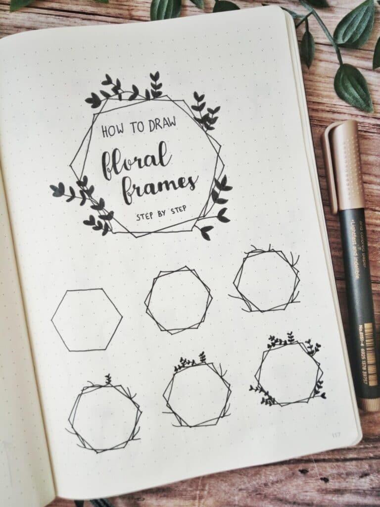 bullet journal floral frame