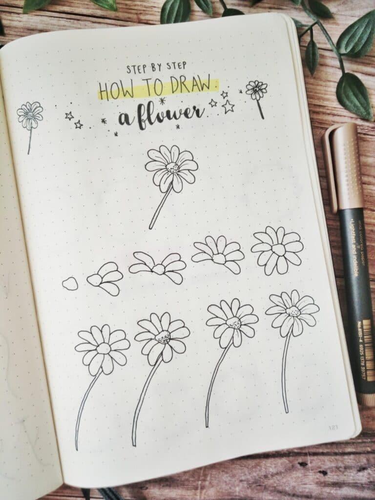 bullet journal ideas flowers