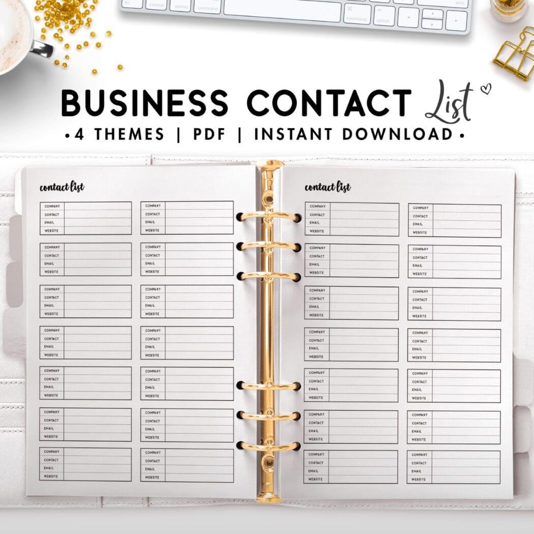 business contact list - cursive