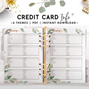 credit card info - botanical