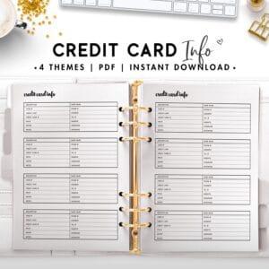 credit card info - cursive