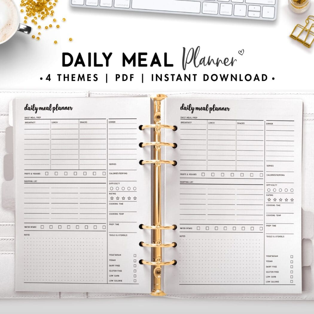 daily meal planner - cursive