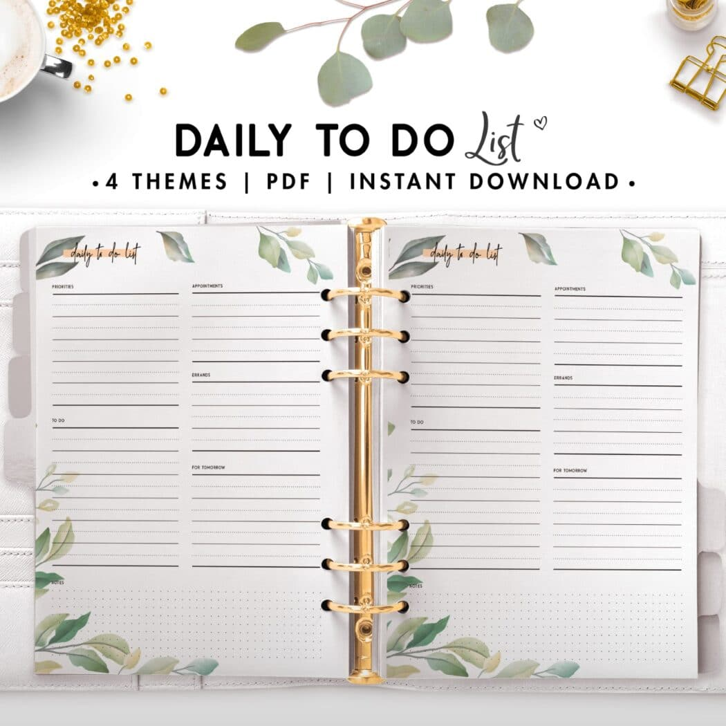 daily to do list - botanical
