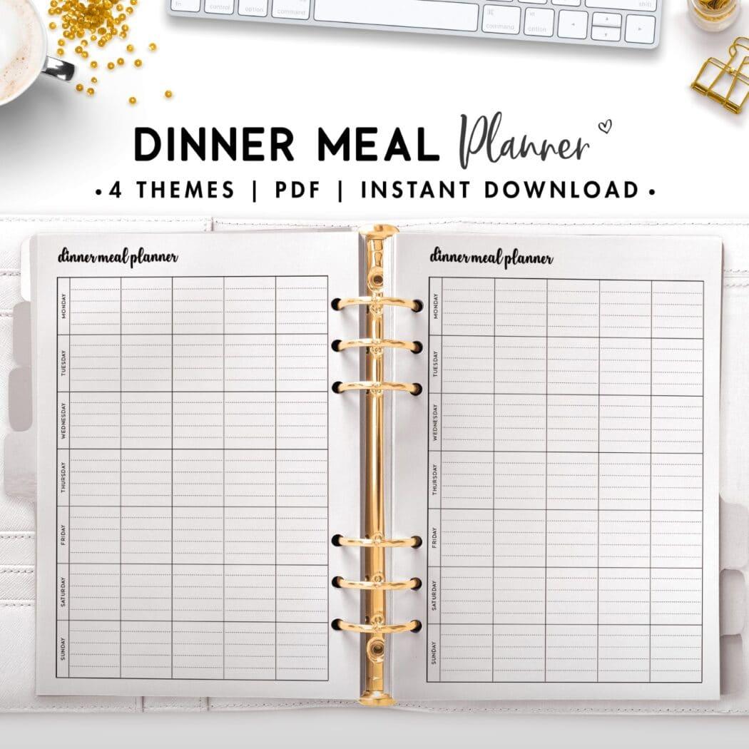 dinner meal planner - cursive