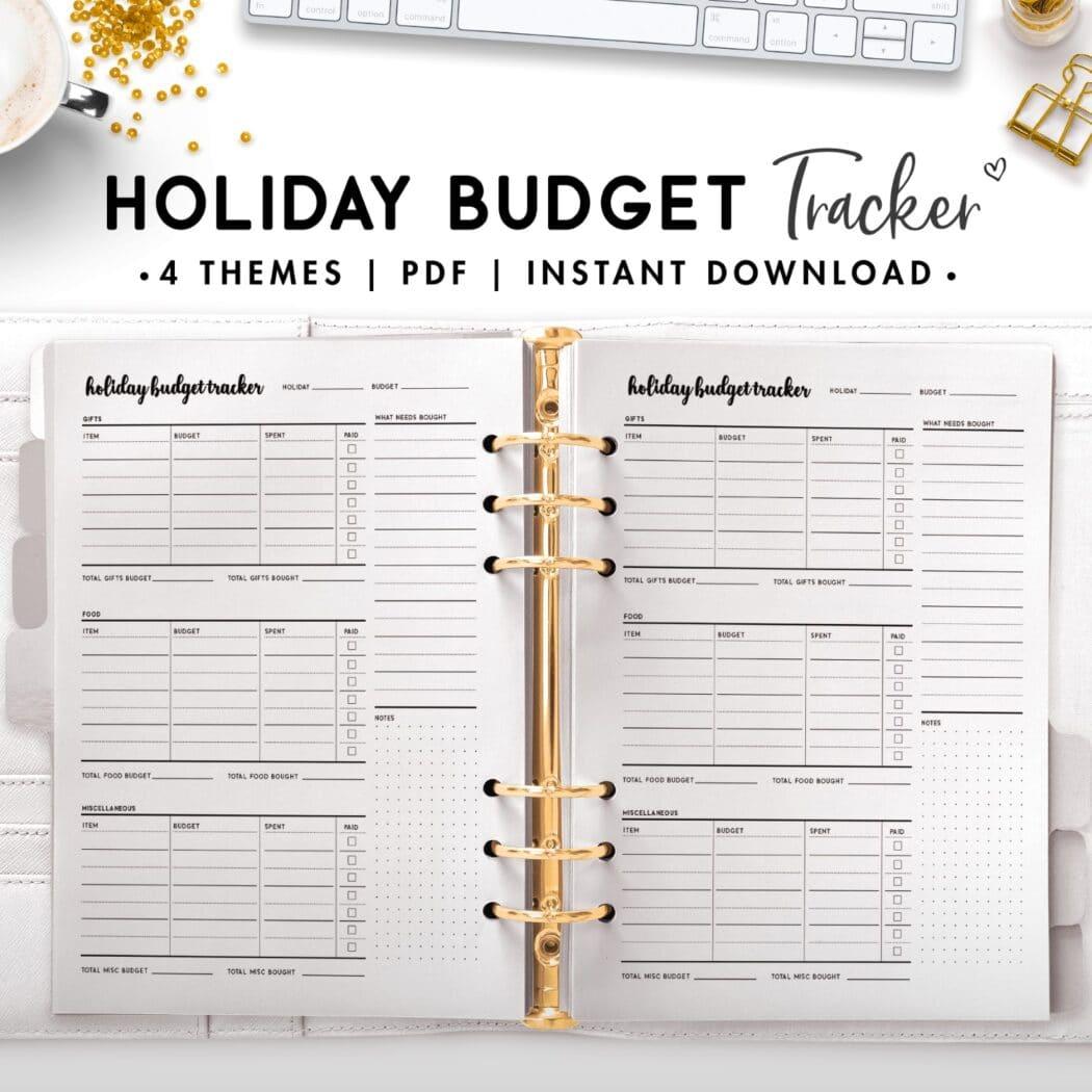 holiday budget tracker - cursive