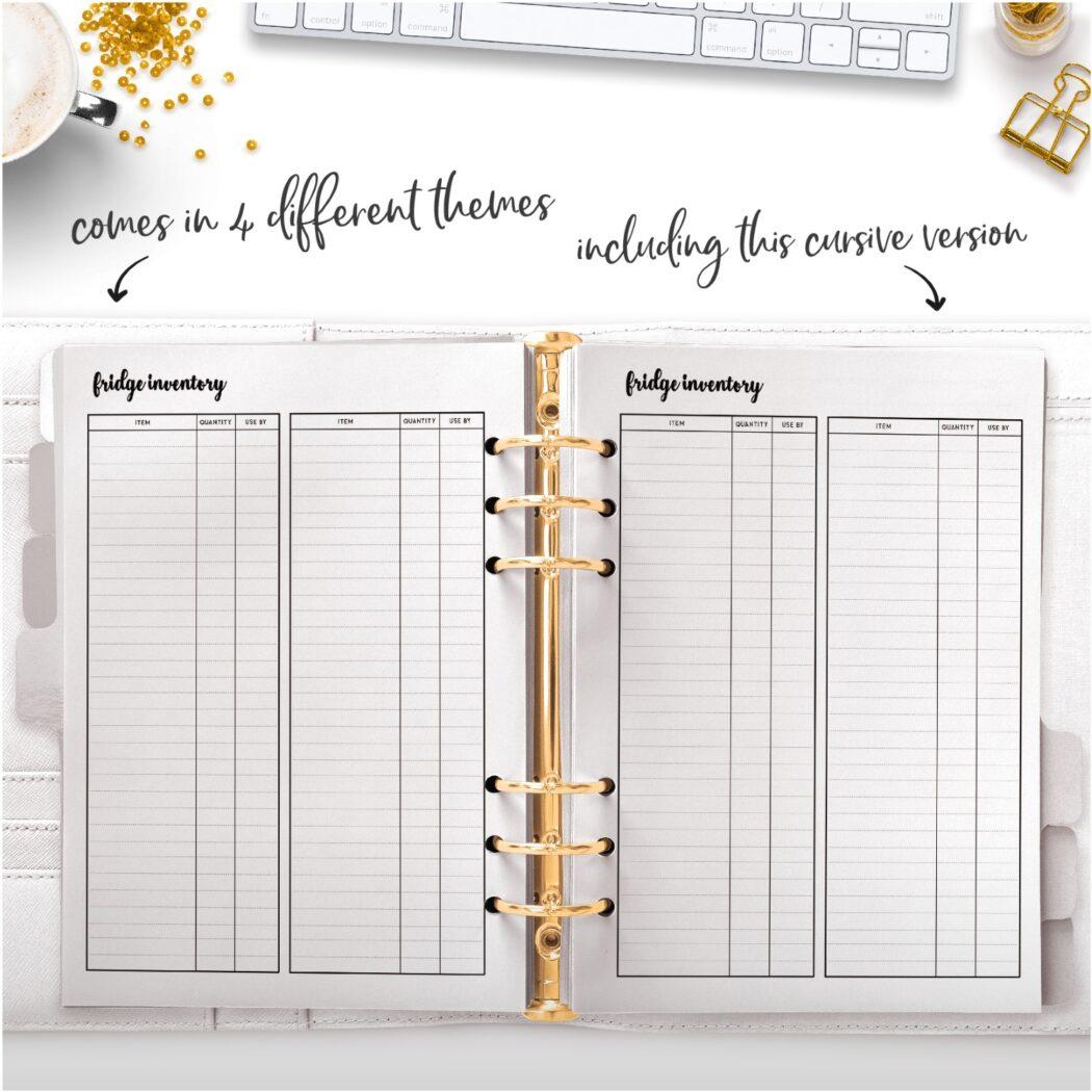 fridge inventory cursive theme