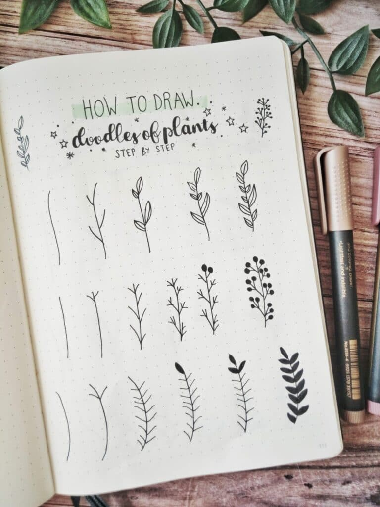 how to draw doodles of plants step by step