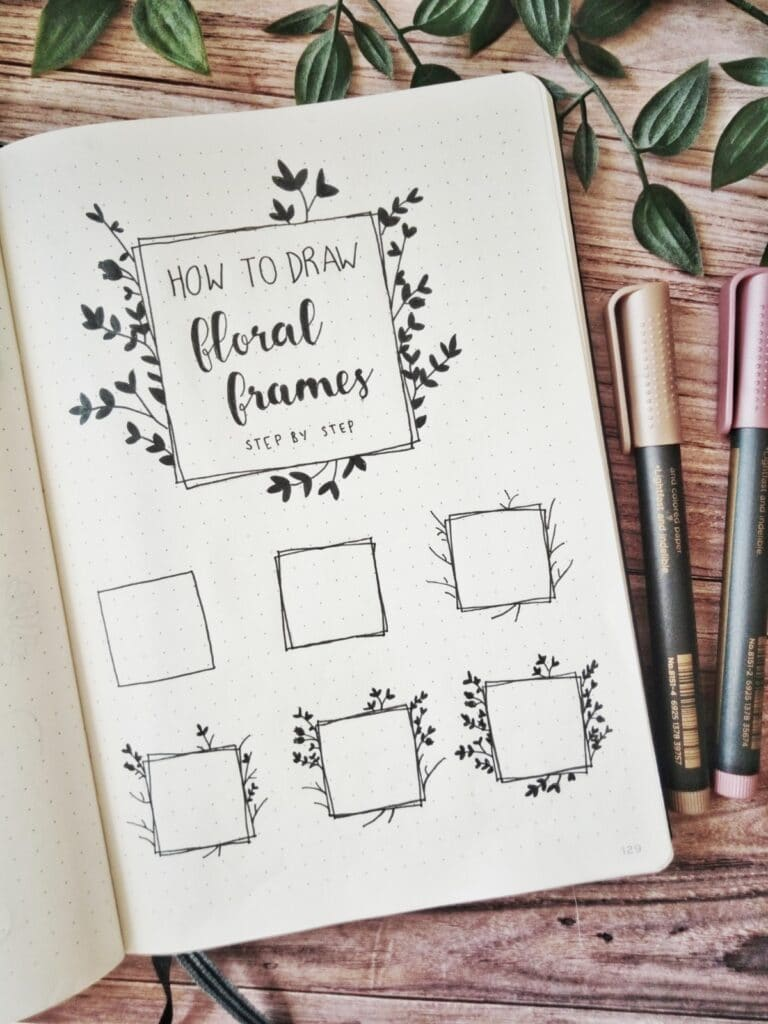 how to draw floral frame
