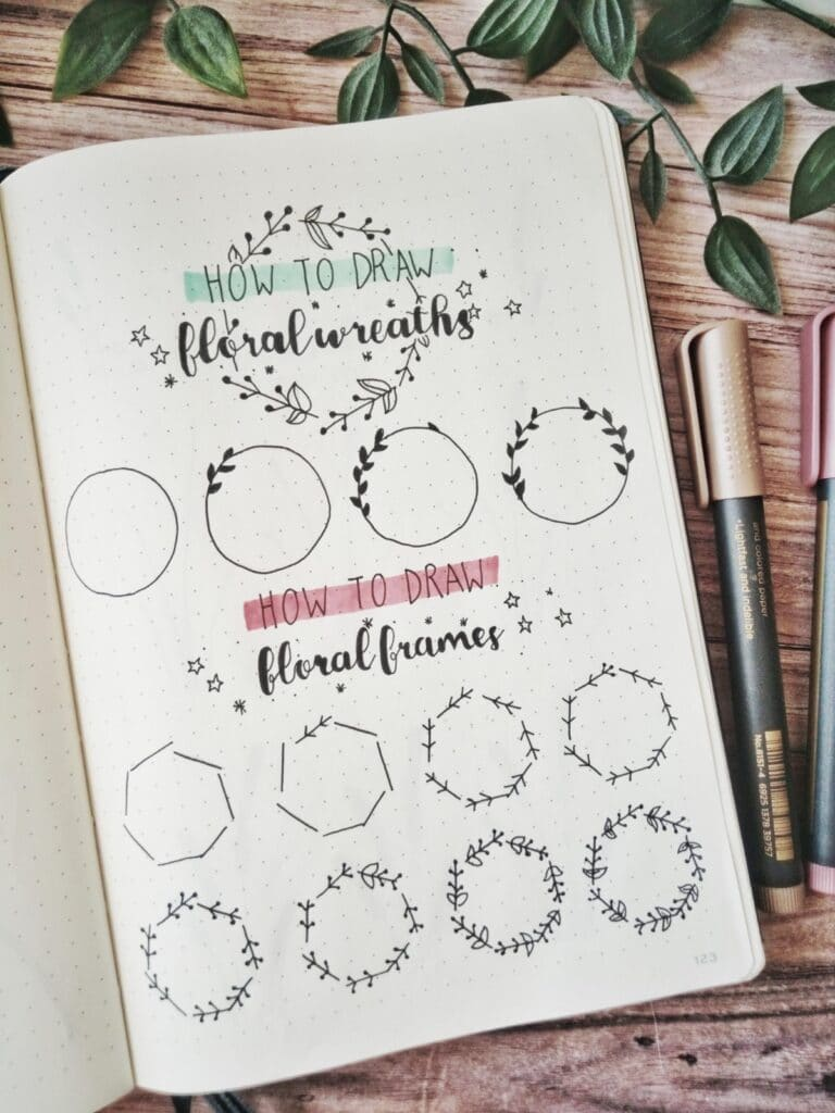 how to draw floral wreaths