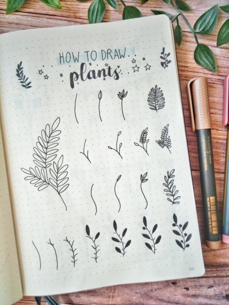 how to draw plants in bullet journal