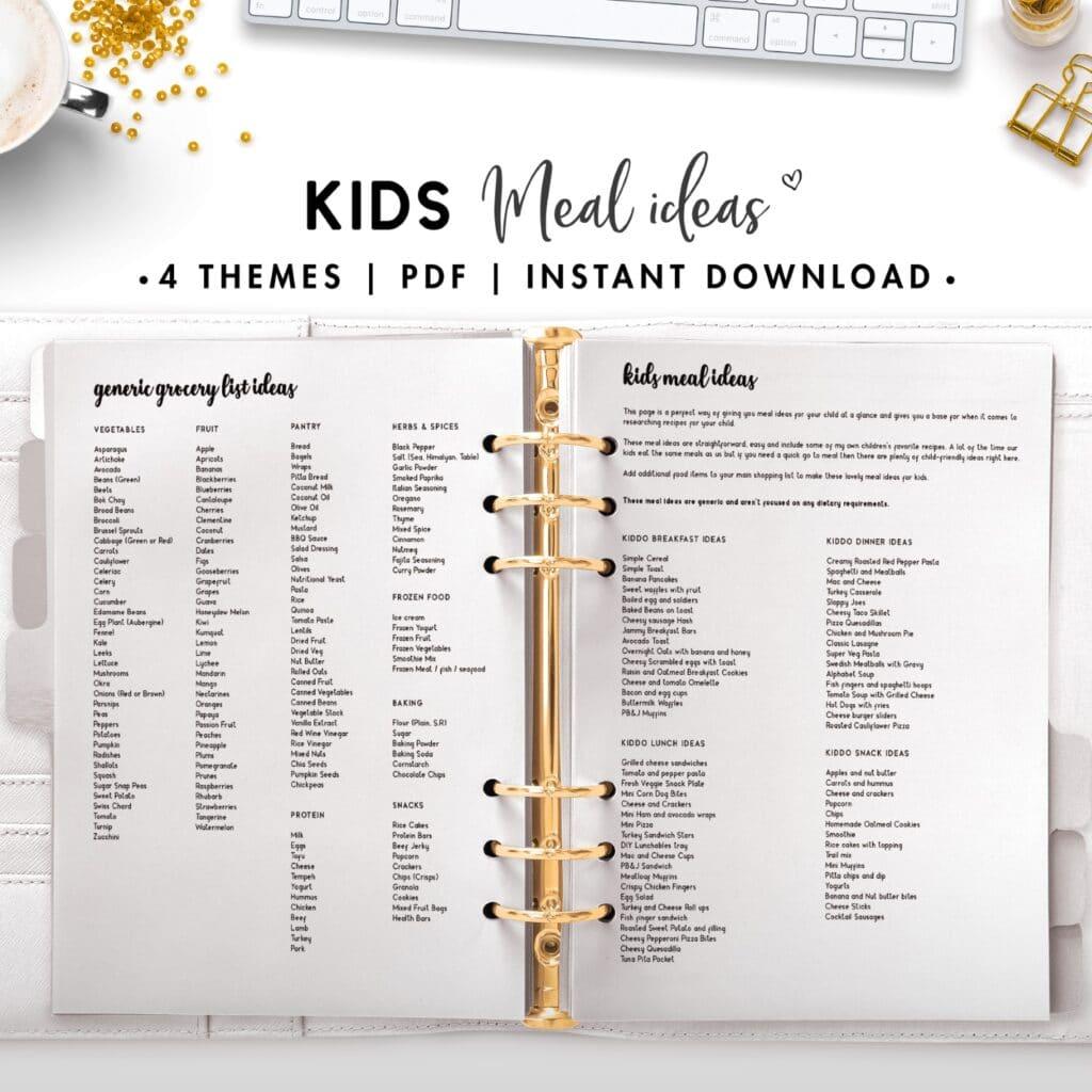 kids meal plan ideas