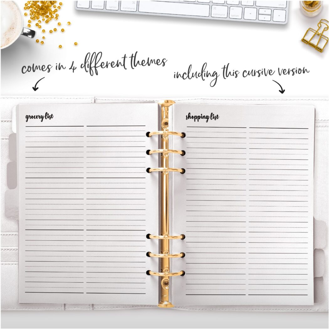 cursive grocery list and shopping list planner page