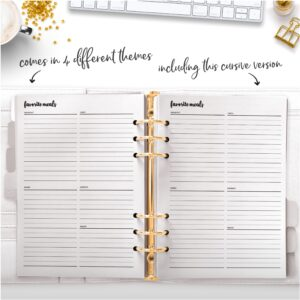 cursive favorite meals planner