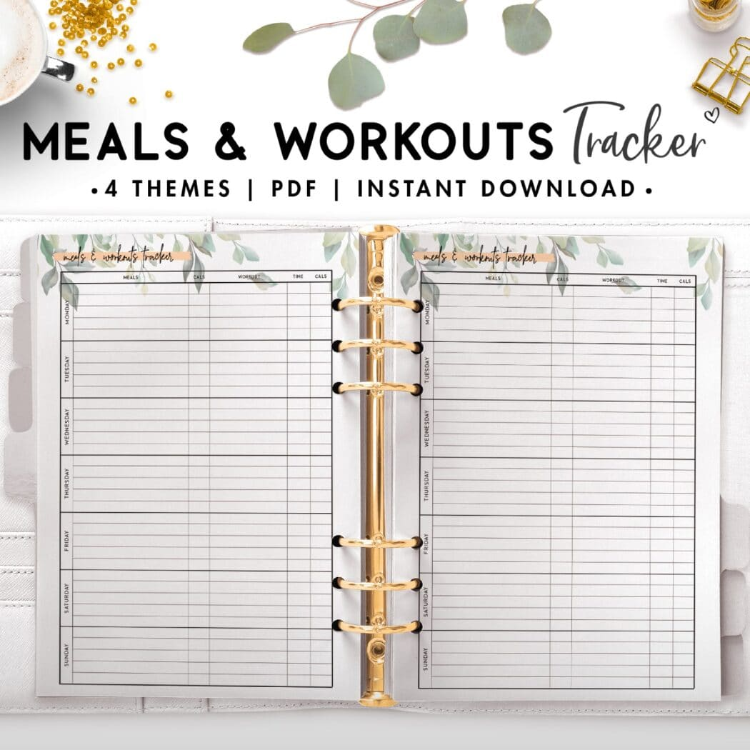meals and workouts tracker - botanical