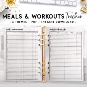 meals and workouts tracker - cursive