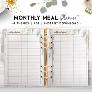 monthly meal planner - botanical