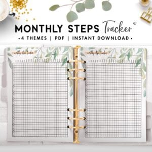 monthly steps tracker - botanical
