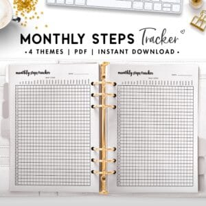 monthly steps tracker - cursive