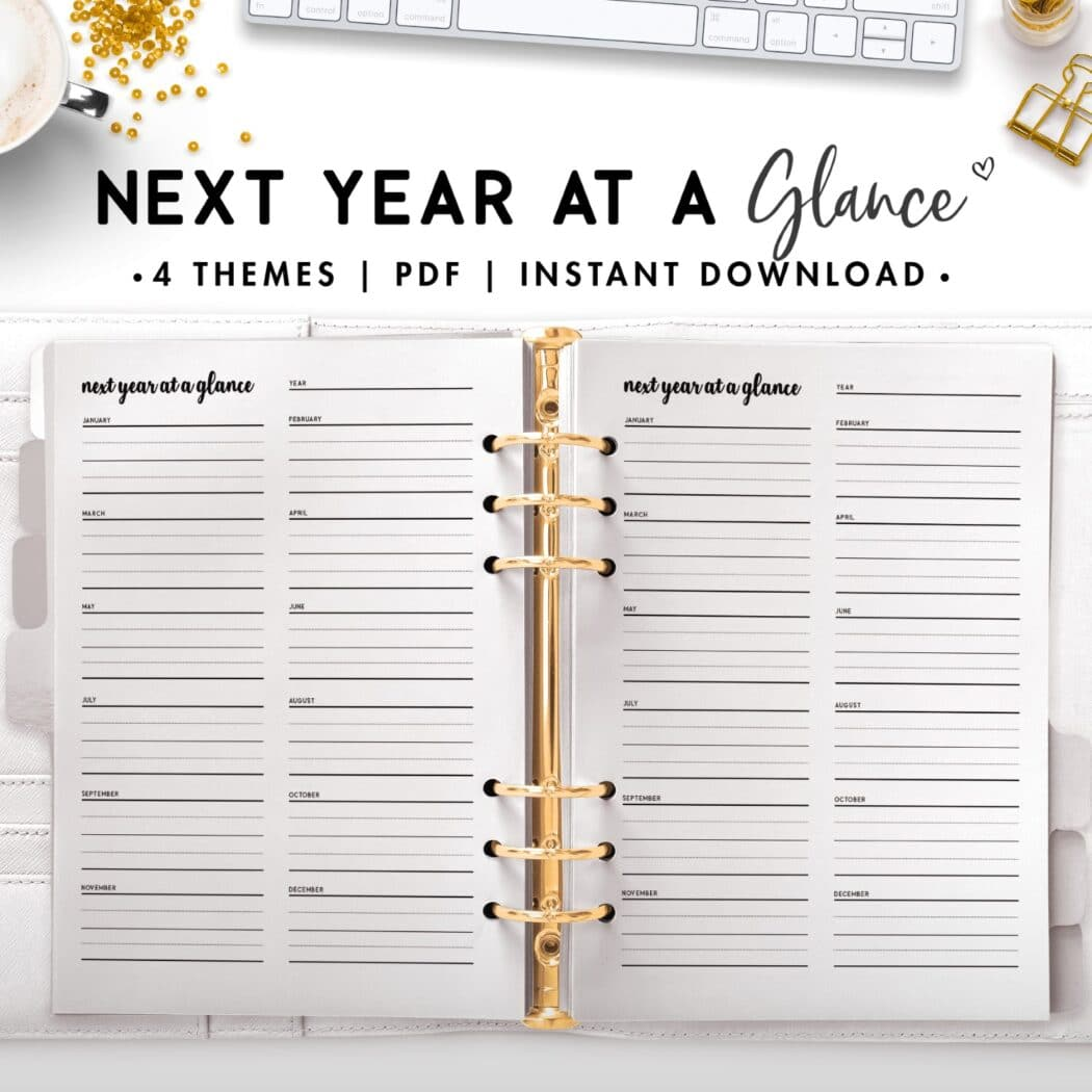 next year at a glance - cursive