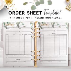 order sheet template - botanical