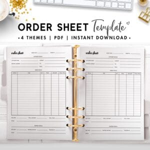 order sheet template - cursive