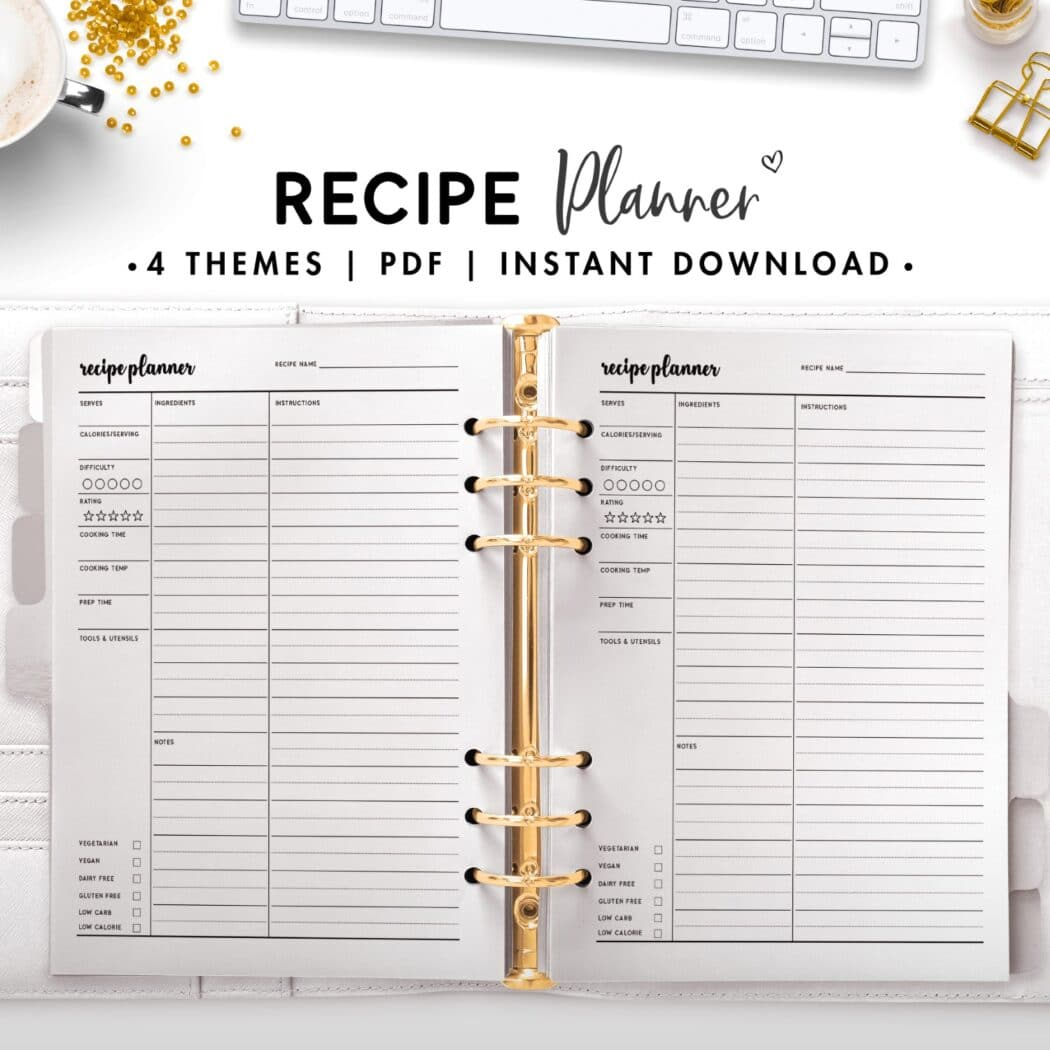 recipe planner - cursive