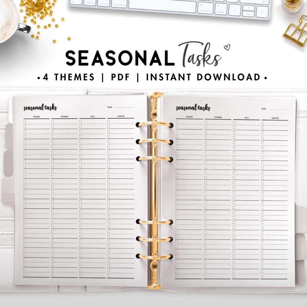 seasonal tasks - cursive