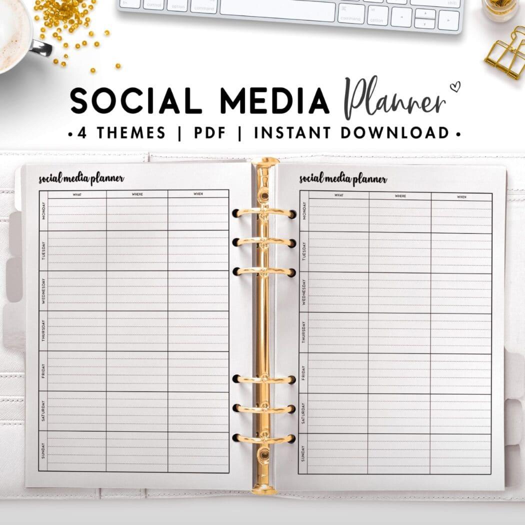 social media planner - cursive