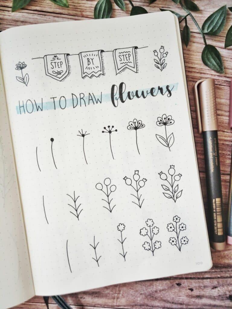 step by step draw flowers