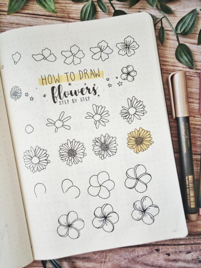 step by step flower draw
