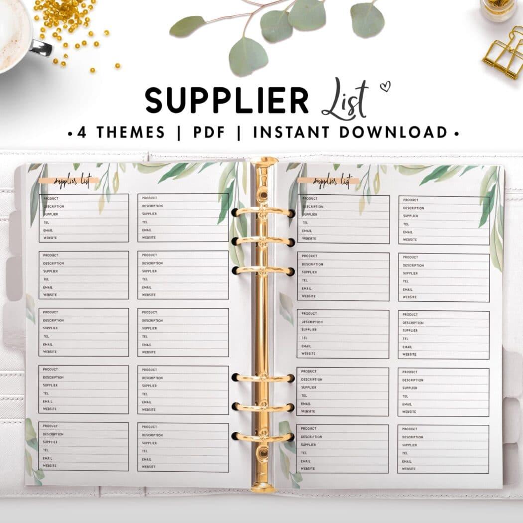supplier list - botanical