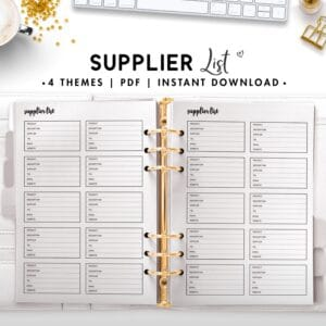 supplier list - cursive